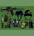 set of military objects vector image vector image
