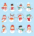 set winter holidays snowman cheerful snowmen vector image vector image