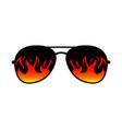 sunglasses fire flames lens template vector image