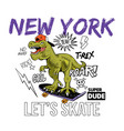 t-rex skater new york print design vector image