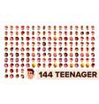 teenager avatar set girl guy multi vector image vector image