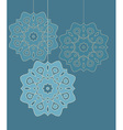 Three decorative circles hanging on strings vector image