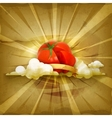 Tomato old style background vector image vector image