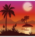 Tropical islands palms flowers and birds vector image vector image