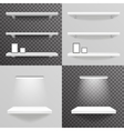 White shelf hanging on a wall with light photo vector image vector image