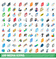 100 media icons set isometric 3d style vector image