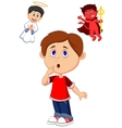 Cartoon boy confuse on choice between good and evi vector image