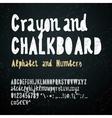 Chalkboard and crayon alphabet vector image