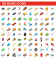 100 road icons set isometric 3d style vector image vector image