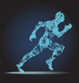 abstract polygonal running man figure on dark vector image vector image