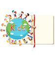 Blank book and kids around the world vector image