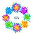 Bright colorful paint splashes round frame vector image vector image