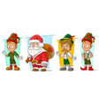 cartoon santa claus and elf character set vector image