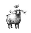 cartoon stylized sheep with crown over her vector image