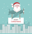 christmas card of santa claus flying in an airplan vector image vector image