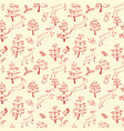 christmas seamless pattern with cute deers in vector image