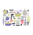 cookware set on white background stylized hand vector image vector image