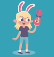 Cute Bunny Girl Holding an Easter Chocolate Egg vector image vector image