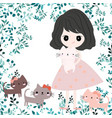 cute girl and kitty cat vector image