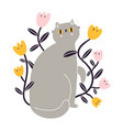 cute gray british kitty with flowers vector image vector image