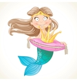 Cute mermaid holding a crown on the pillow vector image vector image