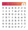 fighting line icons set vector image