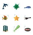 flat icon sea set of tortoise octopus sea star vector image vector image