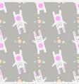 funny cartoon white rabbit gentle print seamless vector image vector image