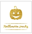 Halloween gold textured pumpkin icon vector image vector image