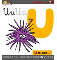 letter u with cartoon urchin sea character vector image vector image