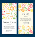 line fruits icons web banner templates vector image vector image