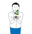 man holding plant in business concept vector image vector image