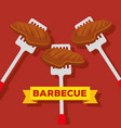 meat with slices object to bbq preparation vector image vector image