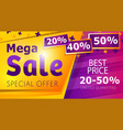 mega sale banner template in trendy style vector image