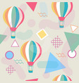 memphis style seamless pattern with hot air vector image