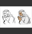 Muslim old wise man praying hand drawn