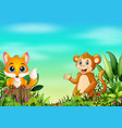 nature scene with a baby fox standing on tree stum vector image vector image