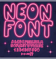 neon letters numbers font alphabet pink colour vector image