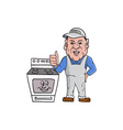 Oven Cleaner With Oven Thumbs Up Cartoon vector image vector image