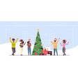people celebrating merry christmas and happy new vector image vector image