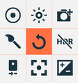 picture icons set with effect reload exposure vector image vector image