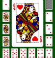 Playing cards of Hearts suit vector image vector image