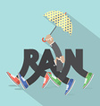 Rain With Legs And Umbrella Typography Design vector image vector image