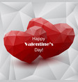 red abstract polygonal hearts vector image vector image