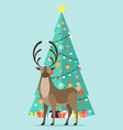 reindeer near decorated fir tree with garlands vector image