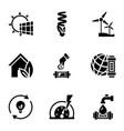 renewable energy icon set simple style vector image vector image