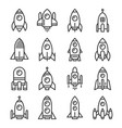 rocket icons set on white background line style vector image vector image
