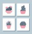 set cute hand drawn card templates with cacti vector image vector image