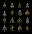 Set of gold christmas tree icons in modern style vector image