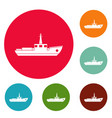 ship fishing icons circle set vector image vector image